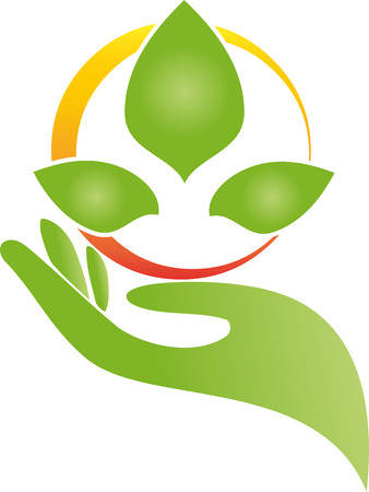 Main et feuilles, fleur, illustration naturopathique Illustration