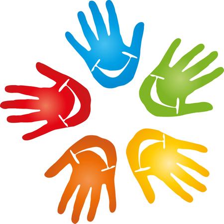 pediatra: Five hands, pediatrician, smiling
