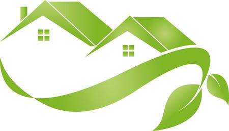 House and plans, leaves tree, illustration Illustration
