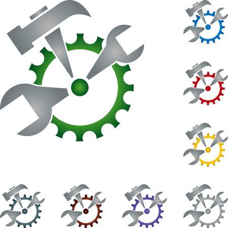 installer: Tools, locksmith, gear, illustration Illustration