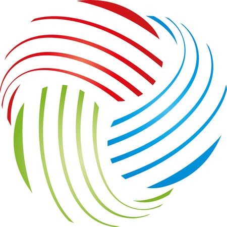 printing logo: Spiral, drop logo, multimedia, colored Illustration