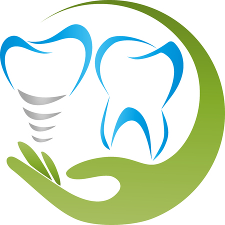 Tooth, hand, dental implants, dentist logo
