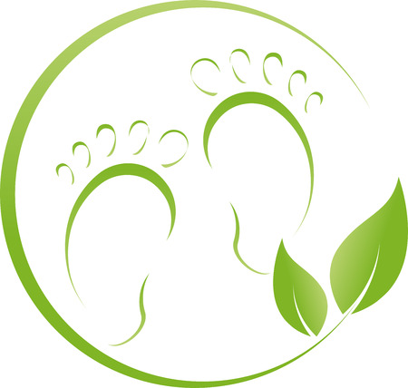balsam: Two feet and plant, footcare, illustration