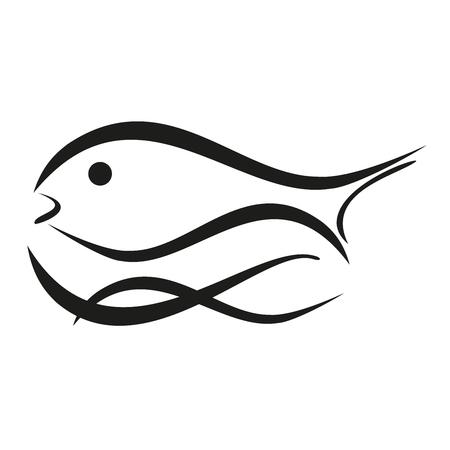 Fish and waves, fishing, illustration