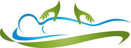 Human, massage, naturopath, hands, orthopedic Stock Illustratie