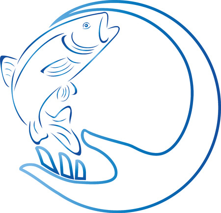 trout: Trout, fish, hand, fishing, illustration Illustration