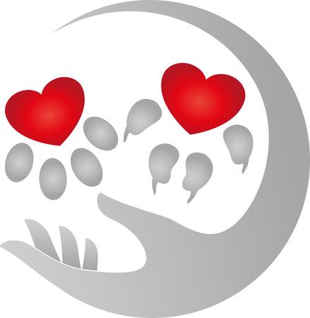 Hand en poten, hond en kat, hart, illustratie Stock Illustratie