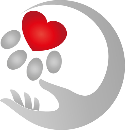 catlike: Hand and paw, cats, heart for cats Illustration