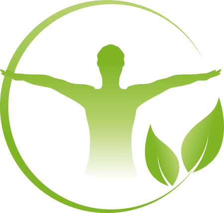 Man and leaves chiropractor, naturopath, fitness Stock Illustratie
