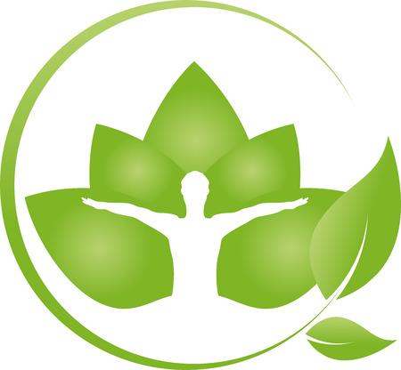 naturopath: Man and leaves, chiropractor, naturopath Illustration
