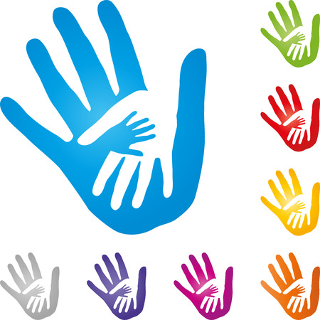 Hands, physiotherapy, child hand, vector Stock Illustratie