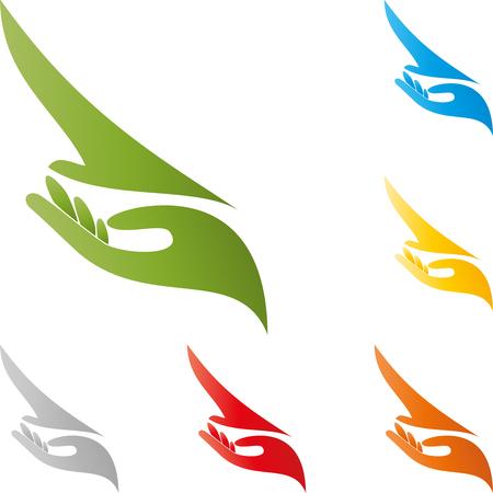 birdwatcher: Bird and hand, birdwatcher in flight, illustration Illustration