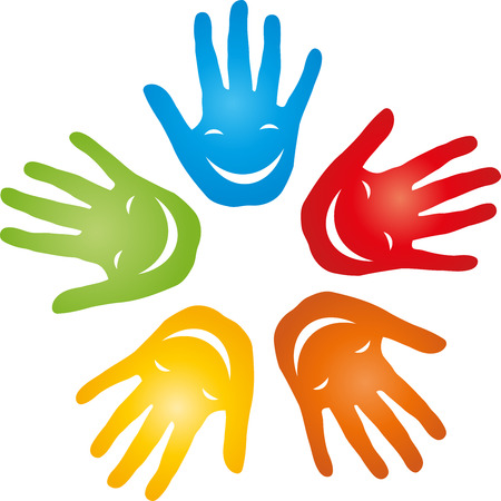 Five hands, pediatrician, smiling