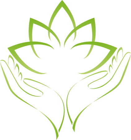 Two hands, leaves, naturopath, nature