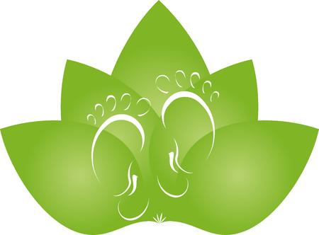 naturopath: Feet, leaves, footcare, naturopath Illustration