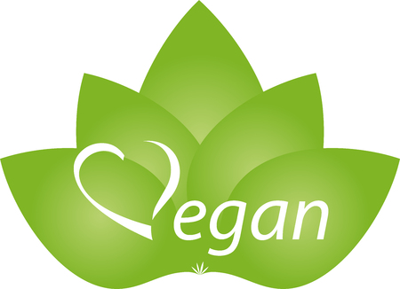 Vegetarian symbol with leaves, vegan, nature Illustration