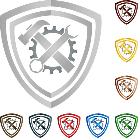 Coat of arms, tools, locksmith, mechanic Ilustracja