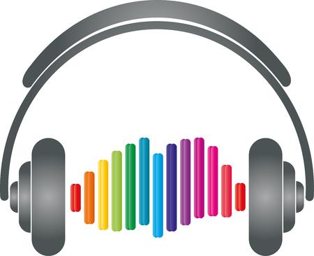 Headphones, equalizer, music logo, sound