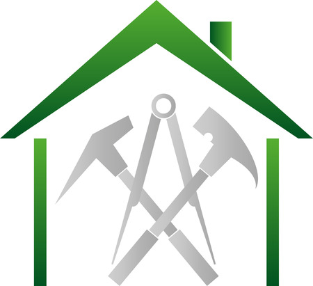Roof, Tools, roofers, roofing signs Stock Illustratie