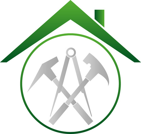 Roof, Tools, roofers, roofing signs Illustration