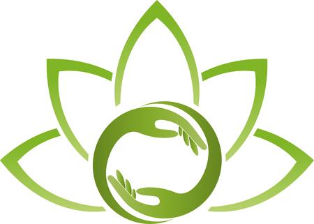Handen, bladeren, fysiotherapie, natuurgeneeskundige, natuur