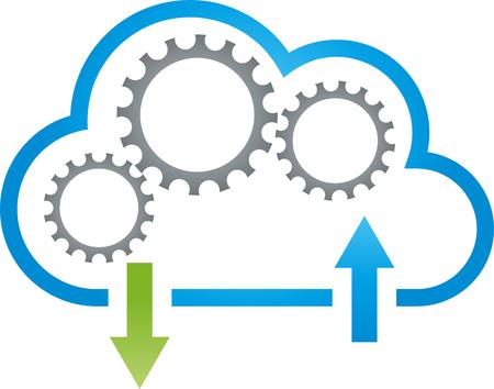 Cloud, gears, data, cloud computing, internet Vektoros illusztráció