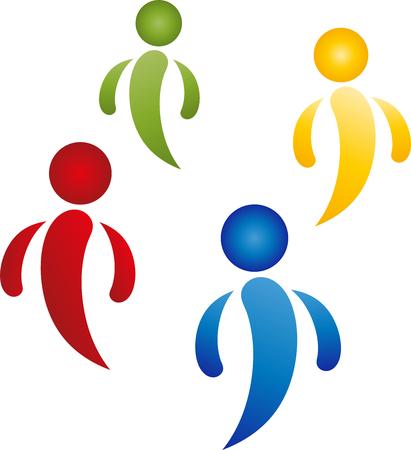 Four people in color design. Ilustracja