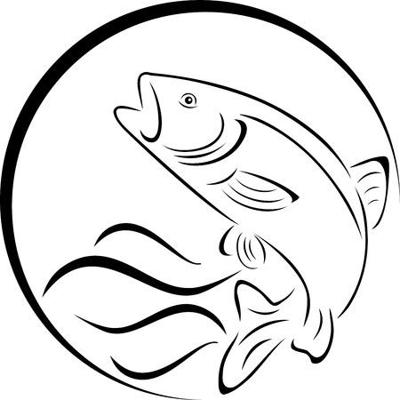 Trout fish label design.