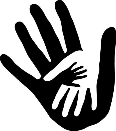 Three hands, label