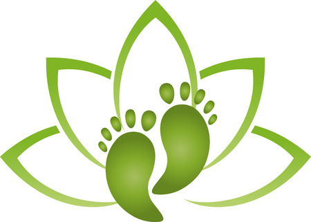 Two feet and leaves, foot care