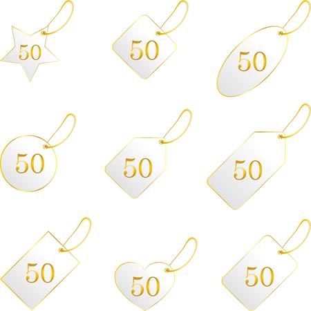 Etiketten met gouden rand, kaarten, set Stock Illustratie