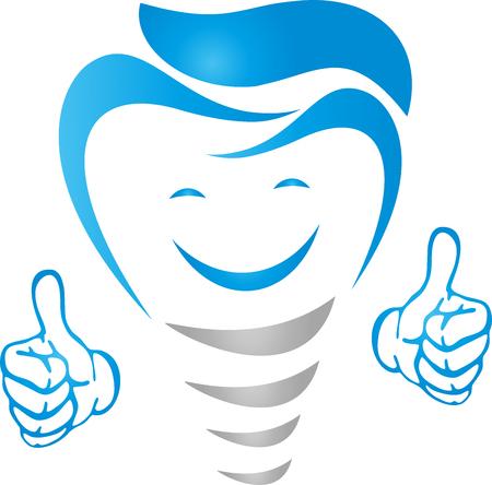 Dental implant with smile and hands, dentist illustration