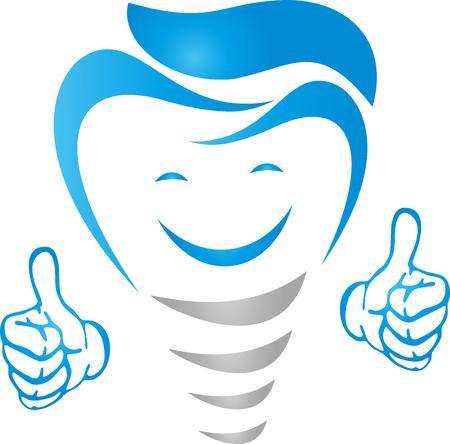 Dental implant with smile and hands, dentist illustration