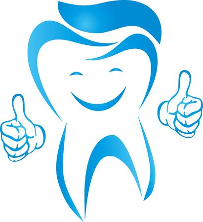 Dente con il sorriso e le mani, illustrazione dentista Archivio Fotografico - 87713180