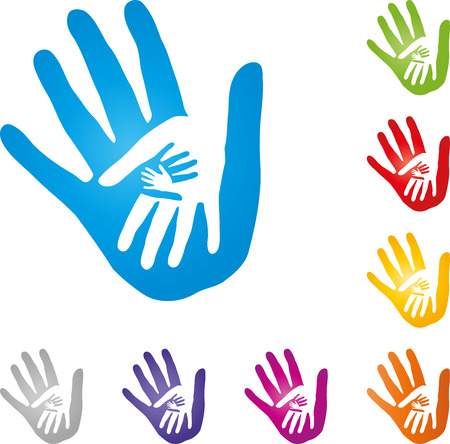 Four hands, team, family, children Vectores