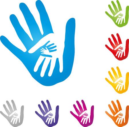 Four hands, team, family, children Stock Illustratie