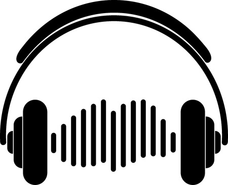 Headphones and equalizer, music and sound label