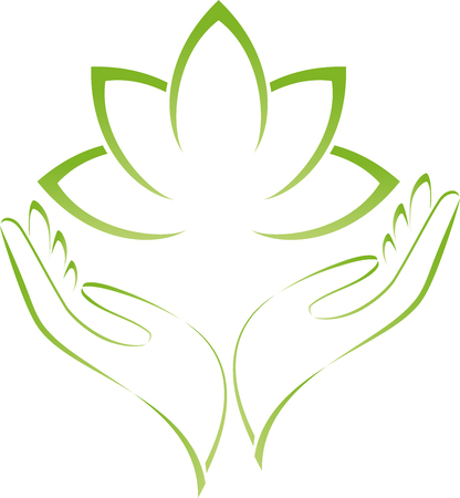 Two hands and leaves, wellness, nature Illustration
