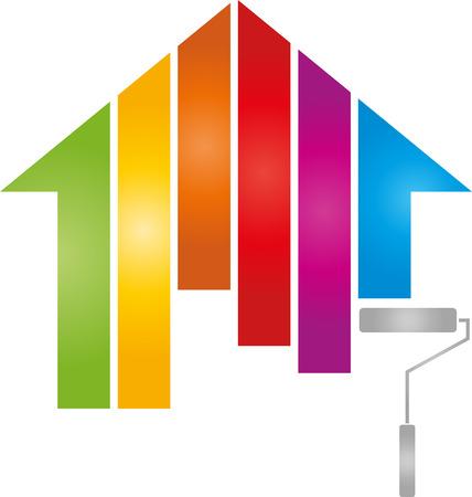 Huis, schilder, regenboog, kleurenrol Stock Illustratie