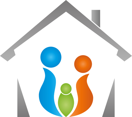 Three persons and house, family, team Stock Illustratie