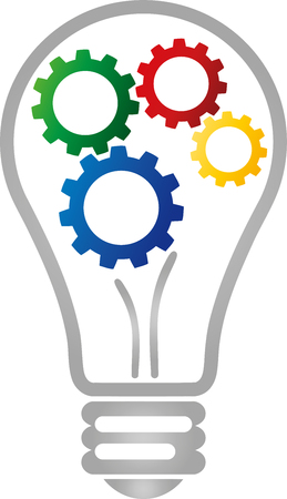 Lamp and gears, idea, vision vector