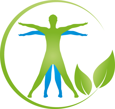 Person on the move, leaves, plans, fitness vector