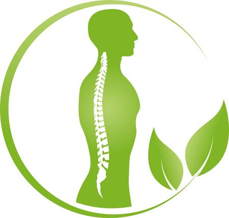 Osoba i kręgosłup, ortopedia, wektor fizjoterapii