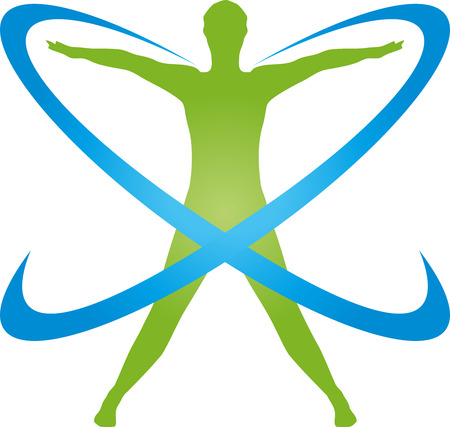 Person on the move and circles, sport, fitness vector
