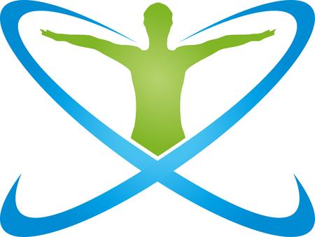 Persoon in beweging en cirkels, sport, fitness vector
