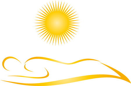 Person and sun, tanning salon, solarium vector