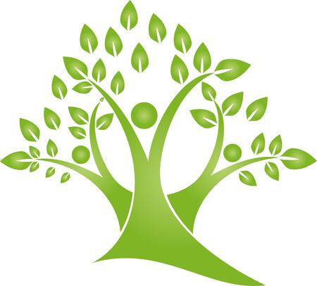 Drie personen als een boom, plant, natuur, tuinman vector