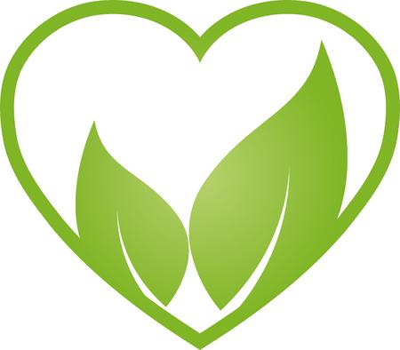 Heart and leaves, nature, vegan, illustration Illustration