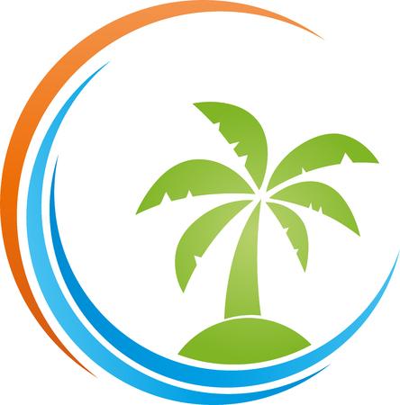 Iceland, sun, palm tree, Tropical island, Vector Ilustração