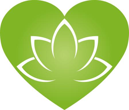 Heart and leaves, wellness, nature, vegan, illustration